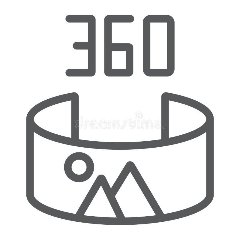 全景视图线象,全景和自转,360度标志,向量图形,在白色的一个线性样式 皇族释放例证