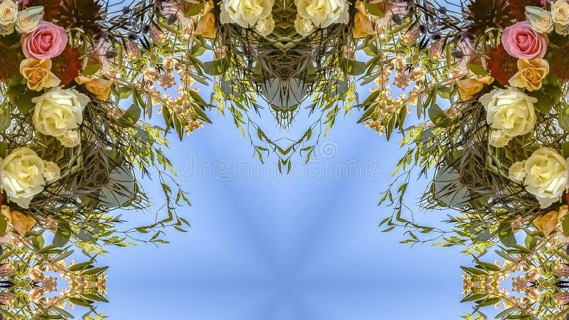 全景通报和有角花卉设计与五颜六色的花从婚礼 库存照片