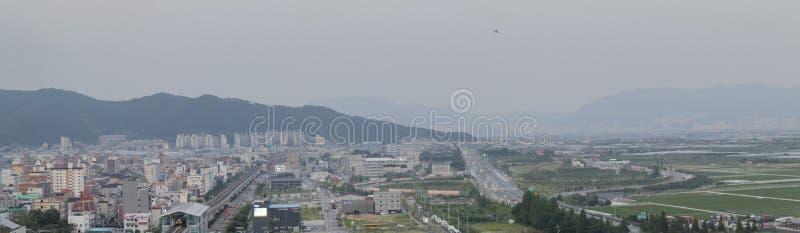 全景金海都市风景,金海市在韩国 免版税库存照片