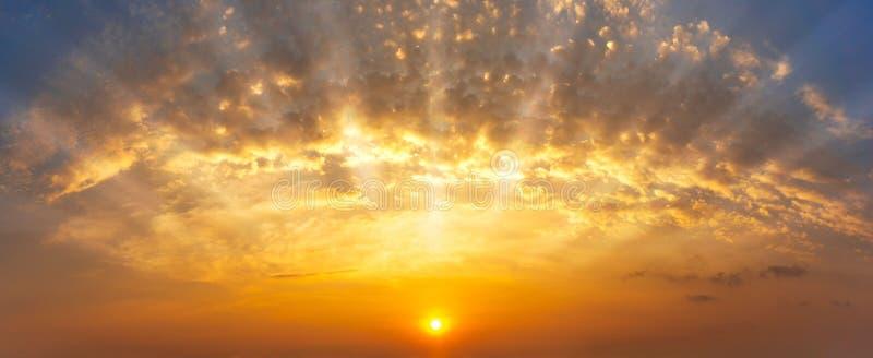 全景金黄天空和云彩有日出自然背景 免版税图库摄影