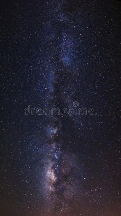 全景银河星系 长的曝光照片 grai 免版税库存照片