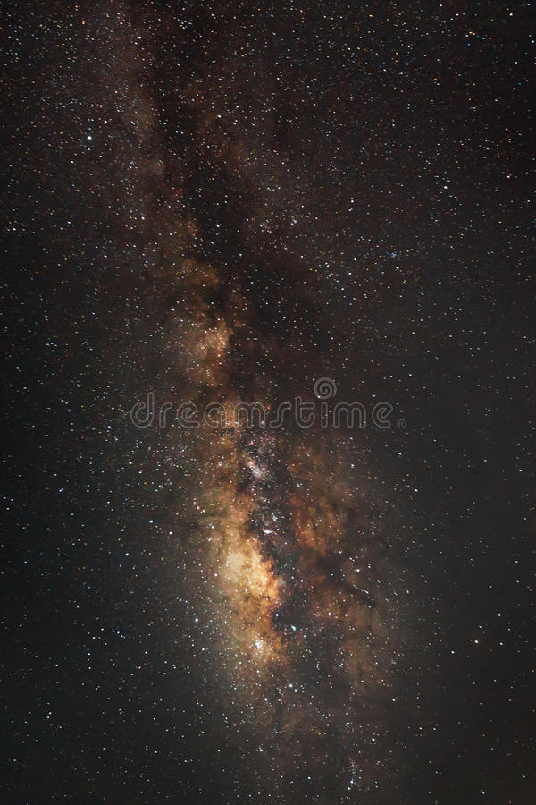 全景银河星系,长的曝光照片 免版税库存照片