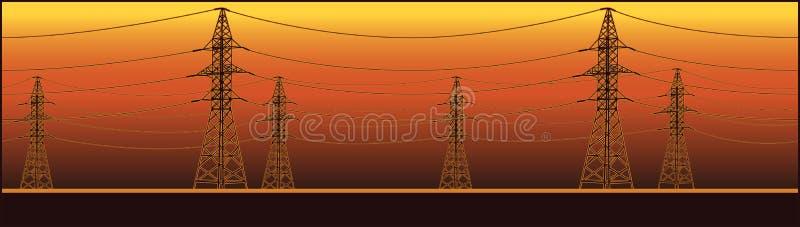 全景高压输电线 皇族释放例证