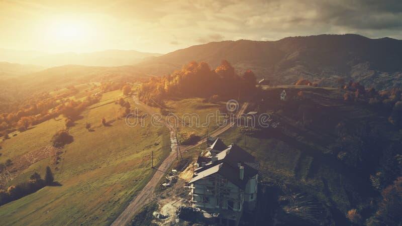 全景高地乡下风景鸟瞰图 图库摄影