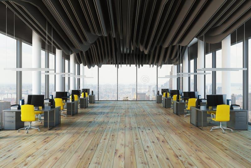 全景黄色椅子露天场所办公室 向量例证