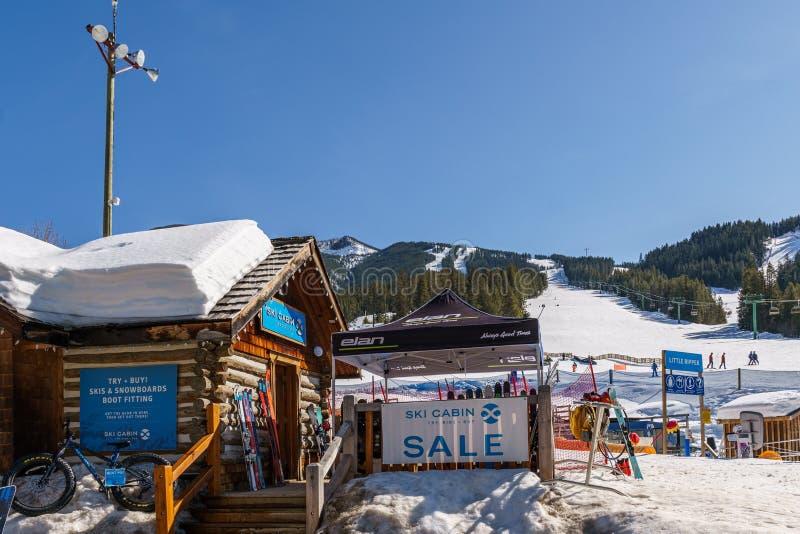 全景,加拿大- 2019年3月21日:山区度假村视图早春天人滑雪 库存图片