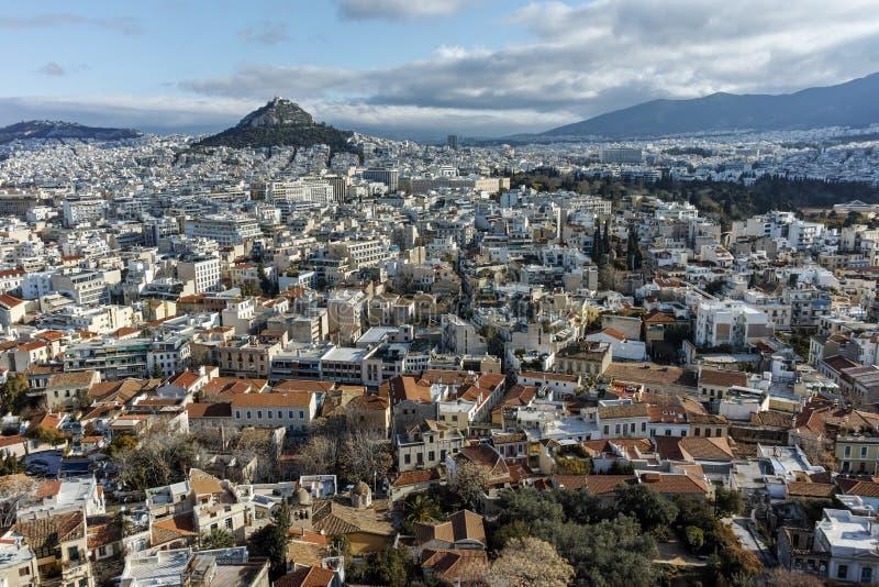 全景从上城到市雅典, Attica 免版税库存图片