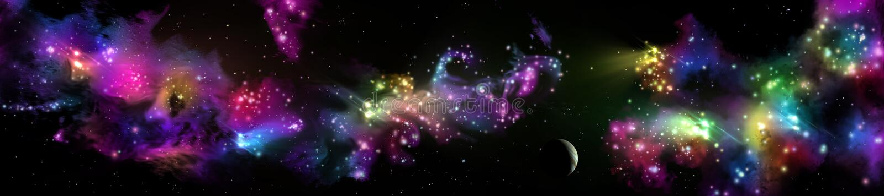 全景满天星斗的风景 宇宙的全景 免版税库存图片