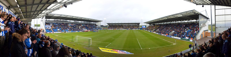 全景-威斯顿回家公共体育场,科尔切斯特联足球俱乐部FC, Engeland 库存照片