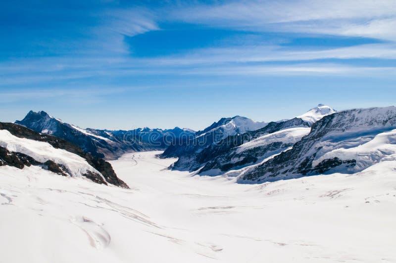 全景  少女峰Aletsch比奇峰欧洲,瑞士冰川上面  库存照片