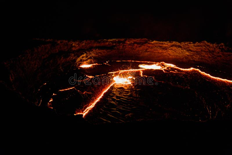全景Erta强麦酒火山火山口,熔化的熔岩, Danakil消沉,埃塞俄比亚 免版税库存图片