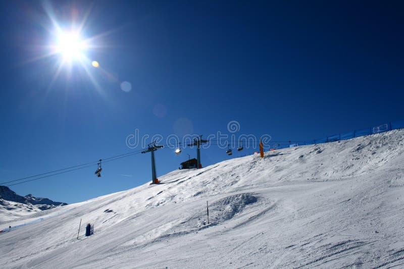 全景piste滑雪 免版税库存图片