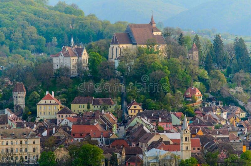 全景Sighisoara,特兰西瓦尼亚,罗马尼亚,欧洲中世纪镇  免版税库存图片