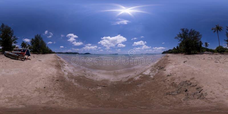 全景VR 360 Thung Makham海湾在春蓬府 库存照片