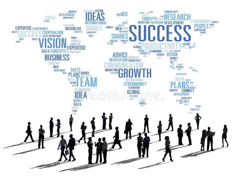 全球企业人合作会议成功成长概念 皇族释放例证