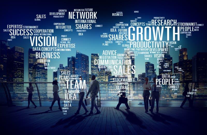 全球企业人通勤者走的成功成长概念 库存例证