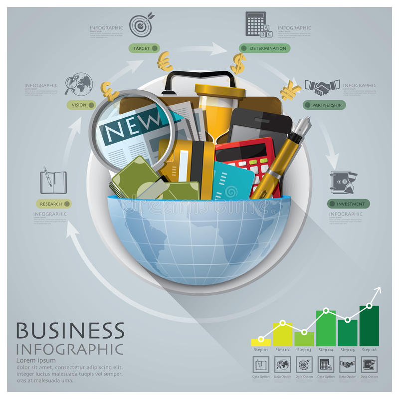 全球企业和财政Infographic与圆的圈子Diag 库存例证