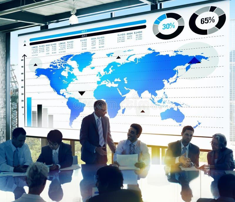 全球企业图表成长世界地图概念 库存图片