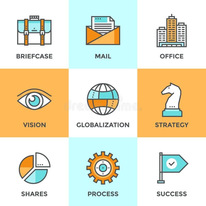 全球企业线被设置的象 向量例证