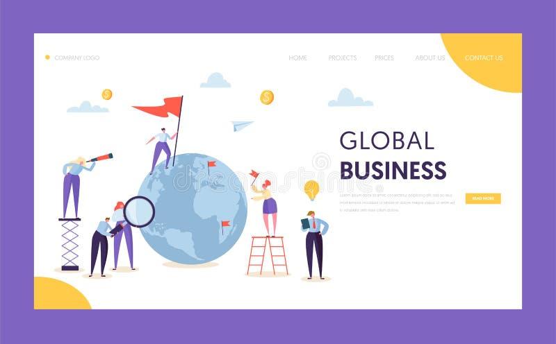 全球企业领导旗子着陆页 在世界地球的公司商人查寻合作与梯子 皇族释放例证
