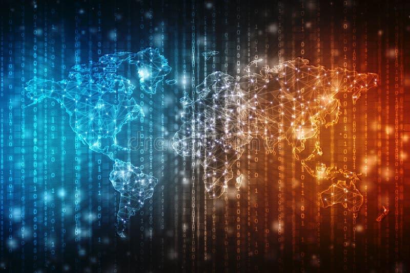 全球企业,数字式抽象技术背景的最佳的互联网概念 电子, Wi-Fi,光芒,标志互联网,远 库存例证