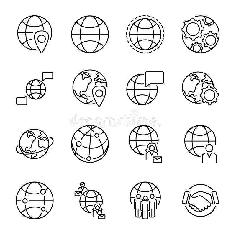 全球化概念与各种各样的地球形状和人连接标志的象汇集 被设置的Monoline简单的传染媒介象 向量例证