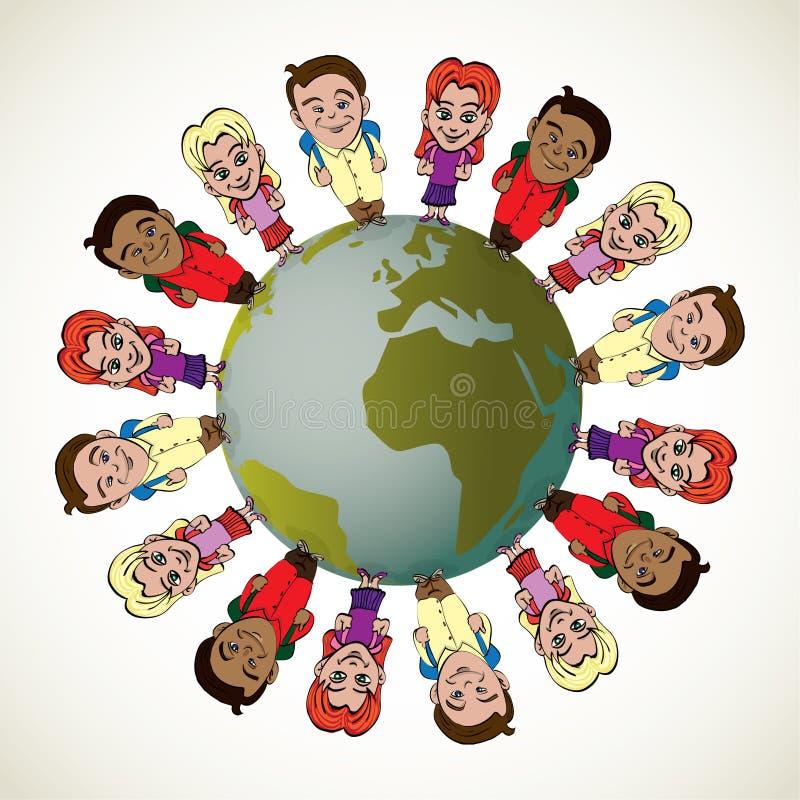 全球孩子 向量例证
