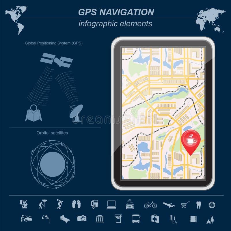 全球定位系统,航海 Infographic模板 库存例证