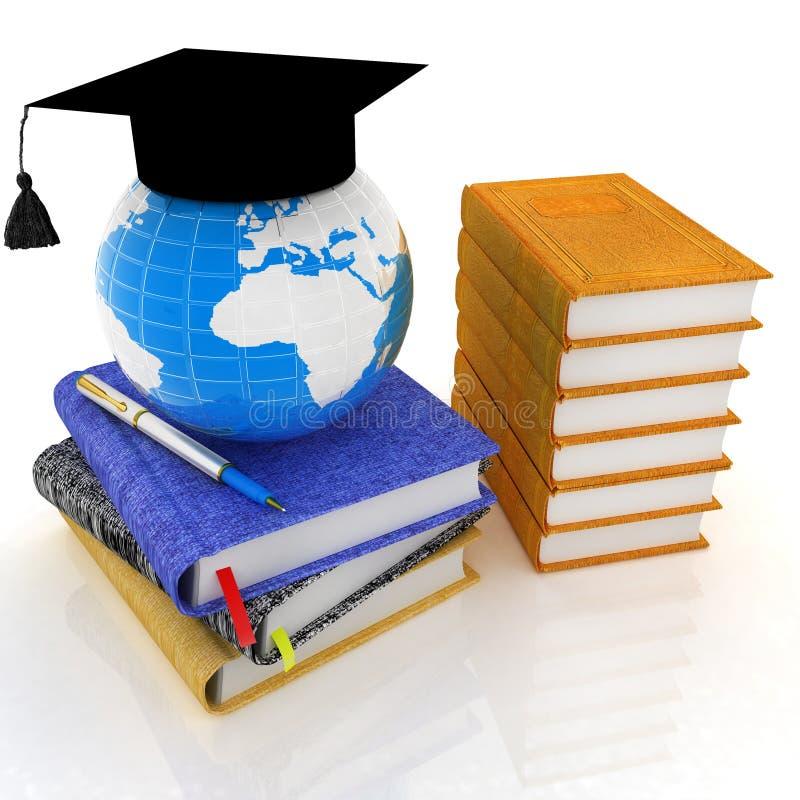 全球性与地球,皮革书,笔记本的教育概念 库存例证