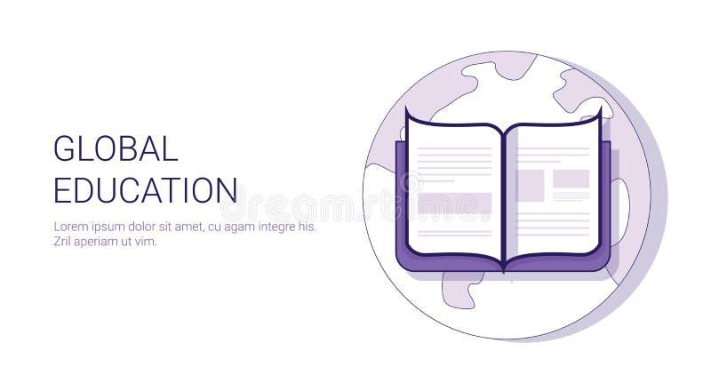 全球性与拷贝空间的教育Learing网上企业概念模板网横幅 向量例证
