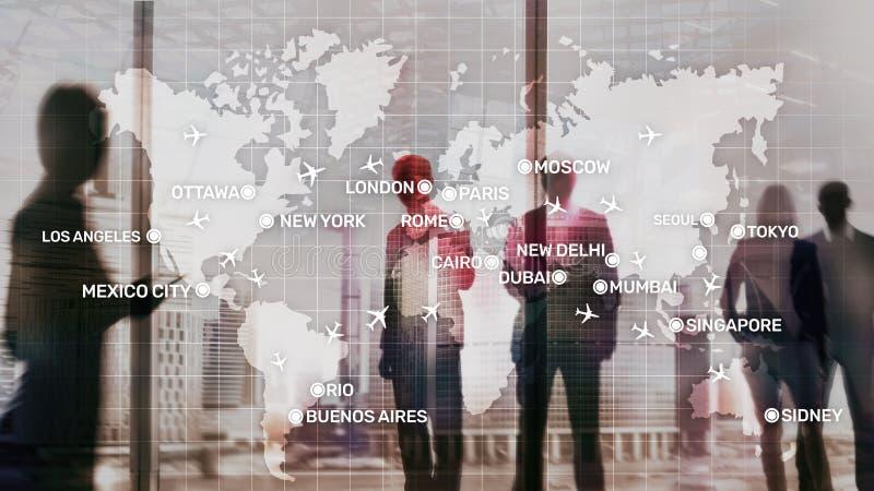 全球性与飞机和城市名字的航空抽象背景在地图 商务旅游运输概念 图库摄影