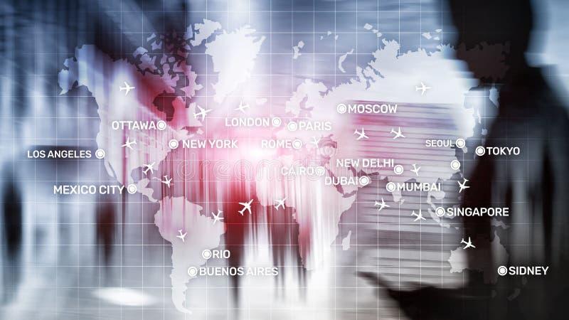 全球性与飞机和城市名字的航空抽象背景在地图 商务旅游运输概念 库存例证