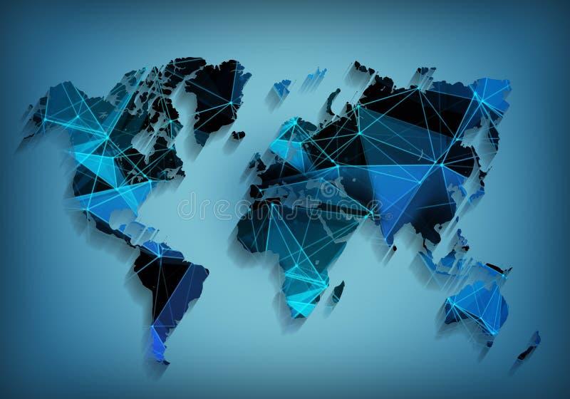 全球性世界地图网络技术 社会通信 库存照片