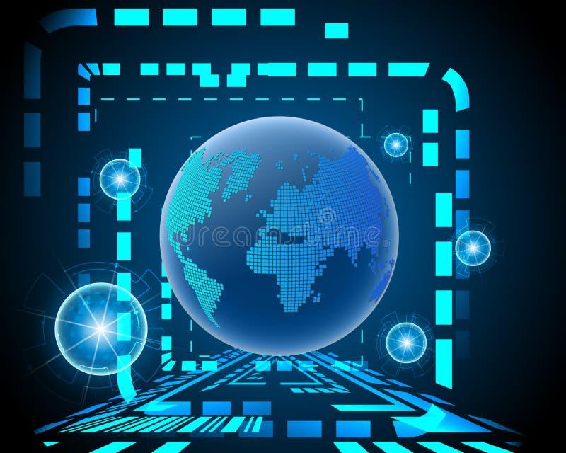全球性世界网络无线互联网连接bigdata 库存例证