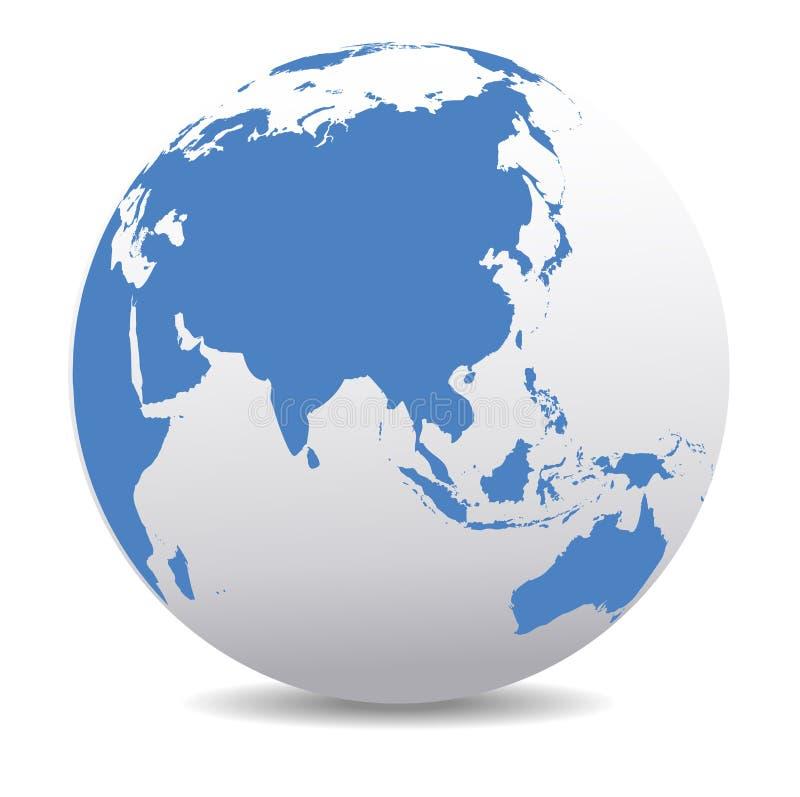 全球性世界行星地球中国,亚洲印度远东 库存例证