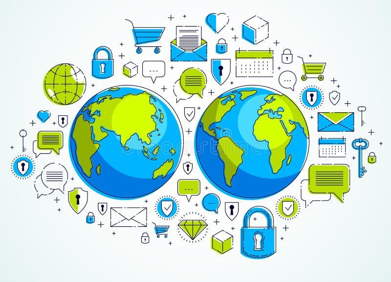 全球性互联网连接概念,与另外象集合,互联网活动,大数据,全球性通信的行星地球, 库存例证