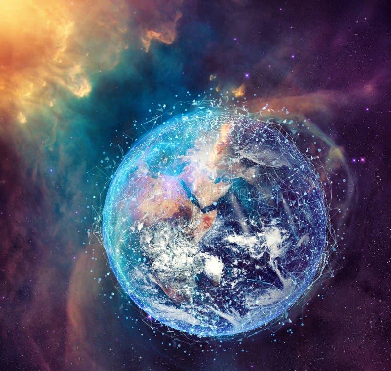 全球性互联网连接网络的概念 美国航空航天局提供的世界 皇族释放例证