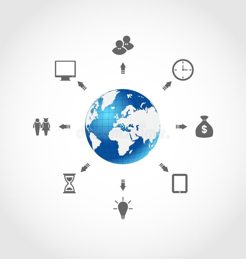 全球性互联网通信,设置了企业图表 皇族释放例证
