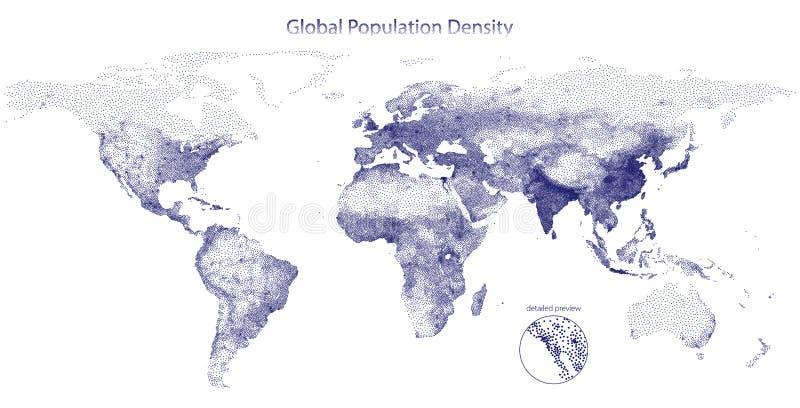 全球性人口密度被点刻的传染媒介地图  皇族释放例证