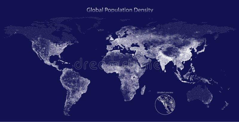 全球性人口密度被点刻的传染媒介地图  库存例证