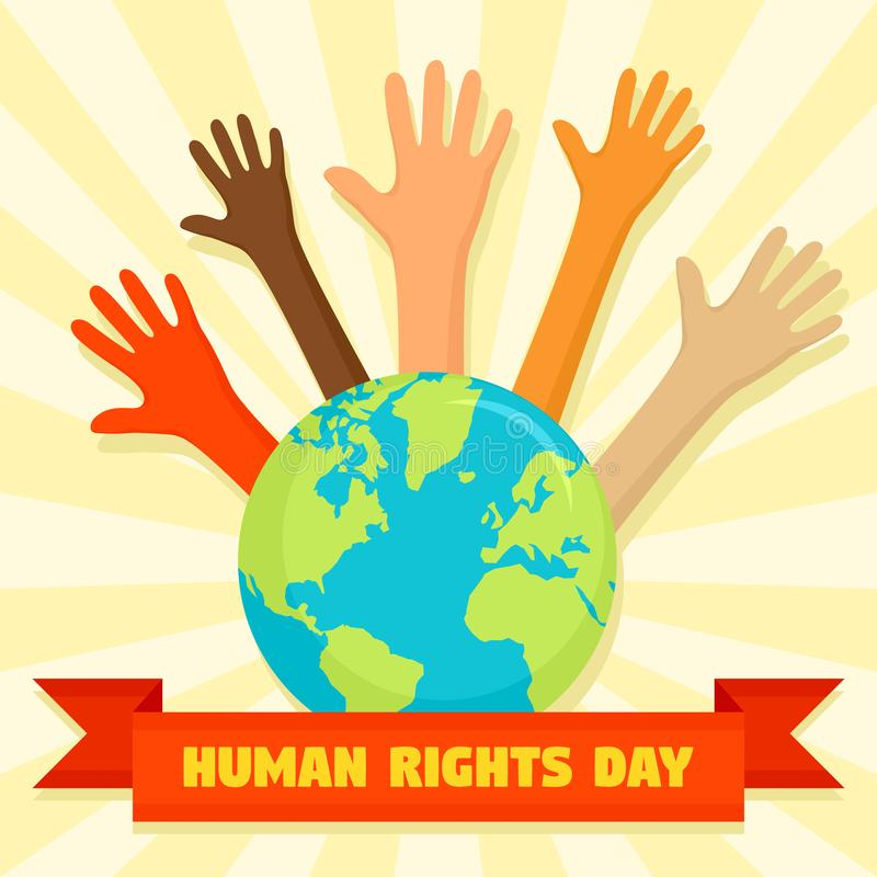 全球性人权天概念背景,平的样式 向量例证