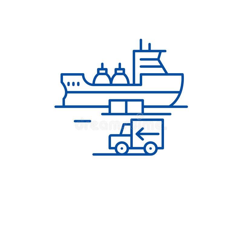 全球性发运行象概念 全球性运输的平的传染媒介标志,标志,概述例证 库存例证