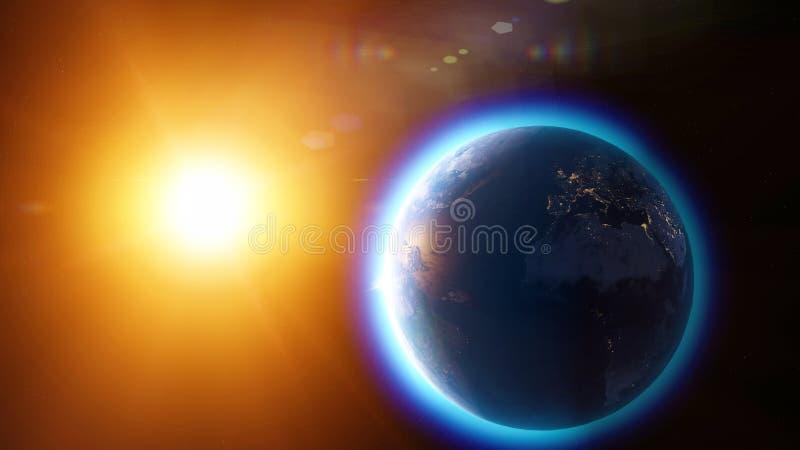全球性变暖和气候变化、地球的卫星看法和太阳 空间和星大气,臭氧气孔 皇族释放例证