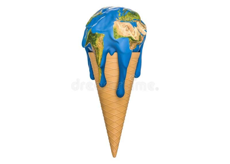 全球性变暖和气候变化概念,冰淇凌地球融解 库存例证