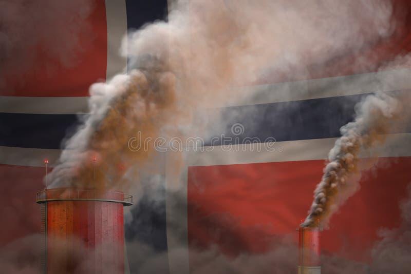 全球性变暖概念-从植物烟囱的浓烟在挪威与地方的旗子背景您的文本的-工业3D 向量例证