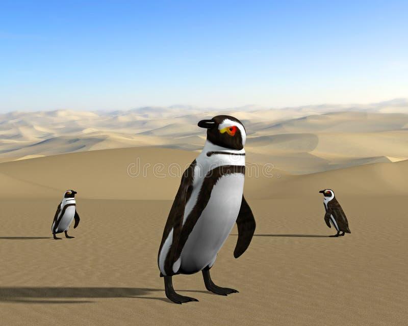 全球性变暖,气候变化,沙漠企鹅 库存例证