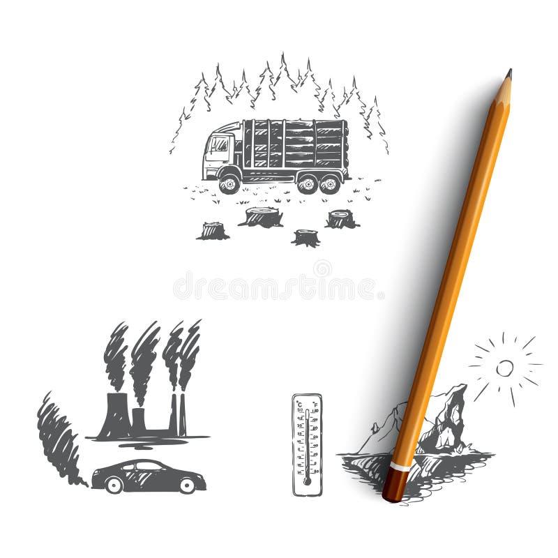 全球性变暖-工厂污染,冰山熔化,砍树导航概念集合 库存例证