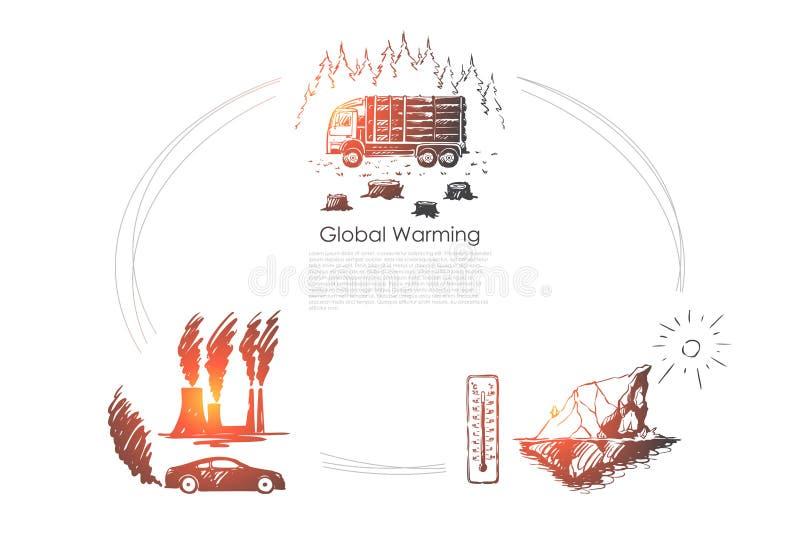 全球性变暖-工厂污染,冰山熔化,砍树导航概念集合 向量例证
