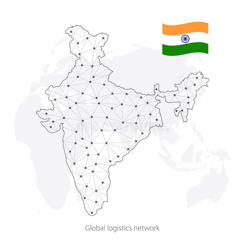 全球性后勤学网络概念 在世界背景的通讯网络地图印度 印度的地图有结的在多角形s 皇族释放例证