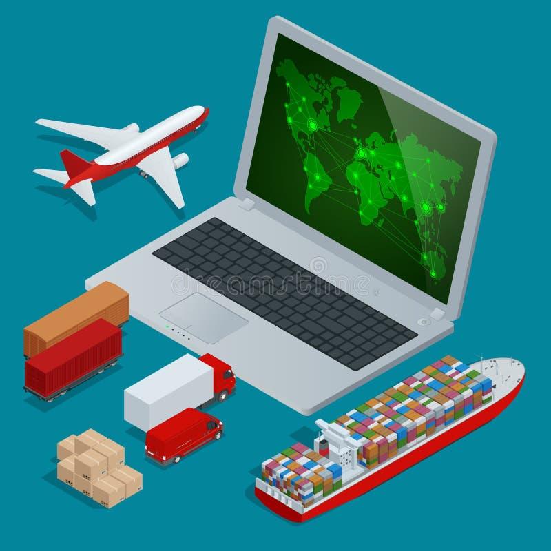全球性后勤学网络网站概念平的3d等量传染媒介例证 准时运载工具被设计 向量例证